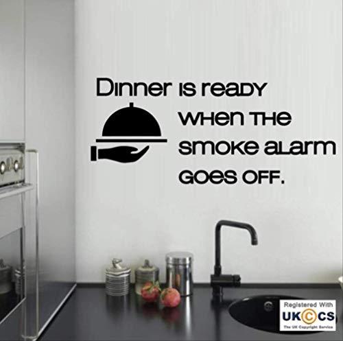Wandkunst Aufkleber Abendessen Bereit Rauchmelder Küche Lustige Essen Decals Vinyl Home 89X40Cm