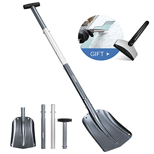 IPSXP Snow Shovel Aluminum Alloy Lightweight Snow Shovel for Car Camping and Other Outdoor Emergency Removable FourPiece Structure