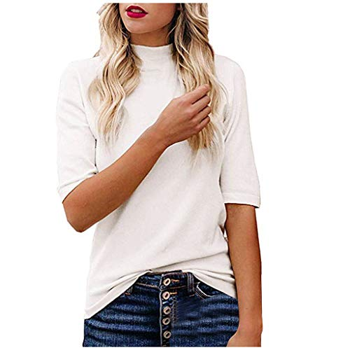 Great Features Of HAALIFE◕‿ Women's Turtleneck Short Sleeve T-Shirt Slim Fit Ribbed Knit Tee T-S...