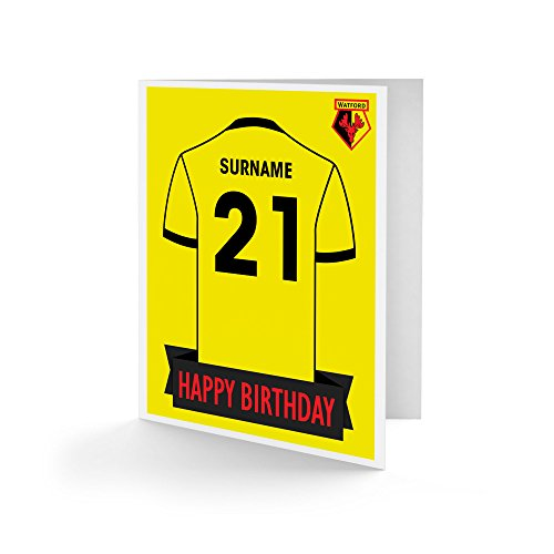 Official Personalised Watford FC Shirt Birthday Card
