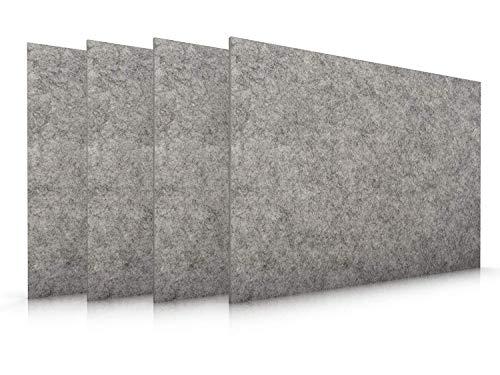 Casoro Edles Filz Platzset im 4er Set in Graumeliert, Moderne Tischmatten, hochwertige Platzmatten 30x45cm, waschbares Tisch-Accessoire, Filzmatten 4mm dick