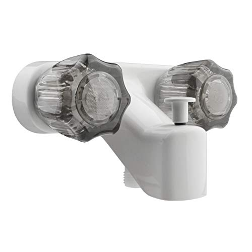 Dura Faucet DF-SA110S-WT RV Tub & Shower Faucet Valve Diverter with Smoked Acrylic Knobs (White)