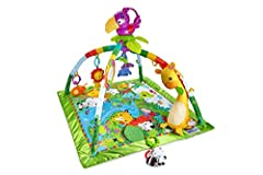 Frustration Free Packaging: Easy to open, 100% recyclable, and less packaging waste Deluxe newborn gym with 10+ toys and activities and a removable, take-along toucan with music and dancing lights Three ways to play: Lay & play, tummy time and take-a...