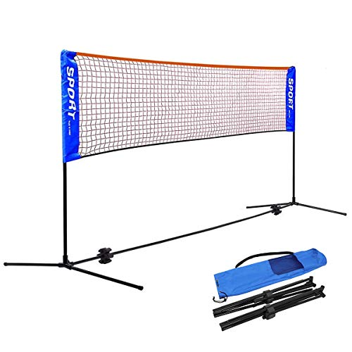 バドミントン用ネット テニスネット テニス練習用ポータブルネット 折り畳み 簡単組み立て テニス・バドミントンネット 収納袋付き 屋内 屋外 持ち運び どこでも 高さ(86~150)cm調整可能 子供も使え (幅 3m ×ネット高 86-150cm)