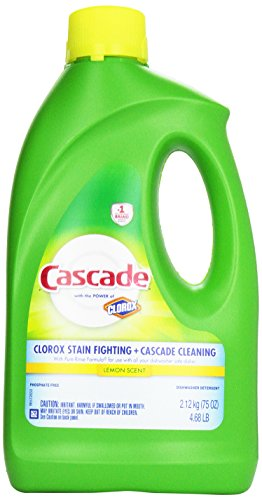 Cascade Gel Dishwasher Detergent, Lemon Scent + Clorox, 75 Oz