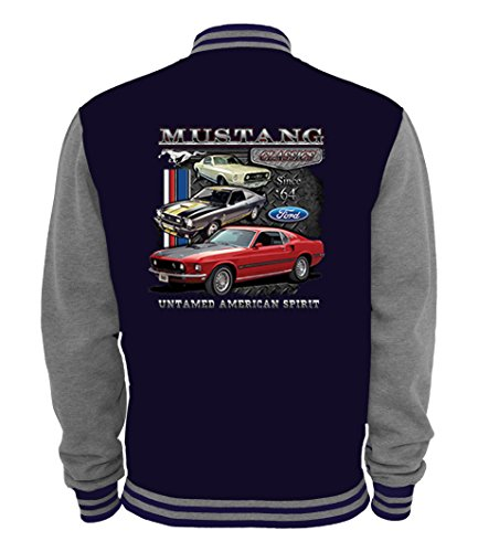 Ethno Designs - Ford Mustang Untamed - Hot Rod College Jacke für Damen & Herren - Old School Rockabilly Retro Style, Navy/Sportsgrey, Größe XXL