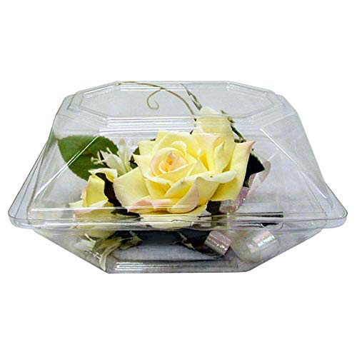 "Boutonniere Flower Box Clear Prom Wedding Corsage Craft Container w/ eBook (4.5"" x 3.75"" x 3"", 10 Count)"
