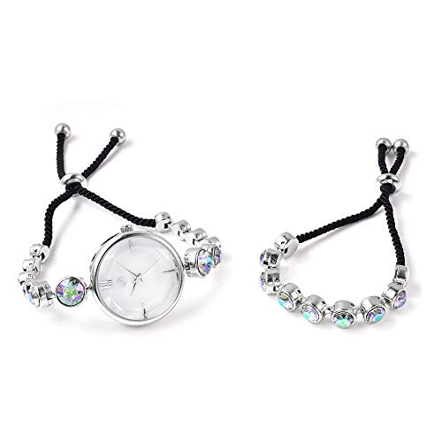 Set of 2 GENOA Japanese Movement Magic Colour Swarovski Crystal Studded Water Resistant Bracelet Watch and Adjustable Bolo Bracelet (Size 6-9.5) in Silver Tone