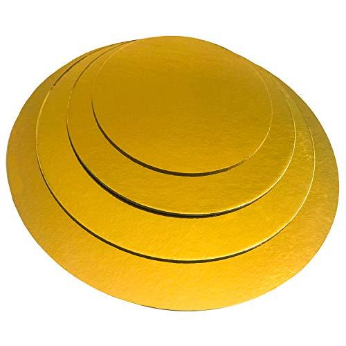 KITCHEN PARADISE Cake Board Rund 4er Set - Ø 20 + 25 + 30 + 35cm - Kuchenplatte Tortenunterlage Tortenplatte - Lebensmittelecht | Für Transport und Deko (Gold)