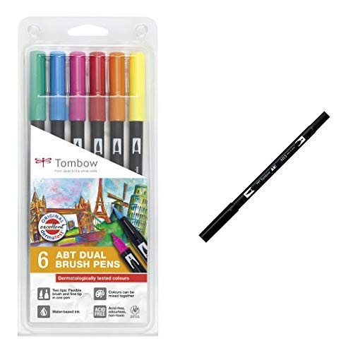 Tombow ABT-6P-3 Fasermaler Dual Brush Pen mit zwei Spitzen 6er-Set dermatologisch getestet & ABT-N15 Fasermaler Dual Brush Pen mit zwei Spitzen, black