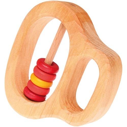 Grimm's Hochet avec 5 Tranches de bois rouge