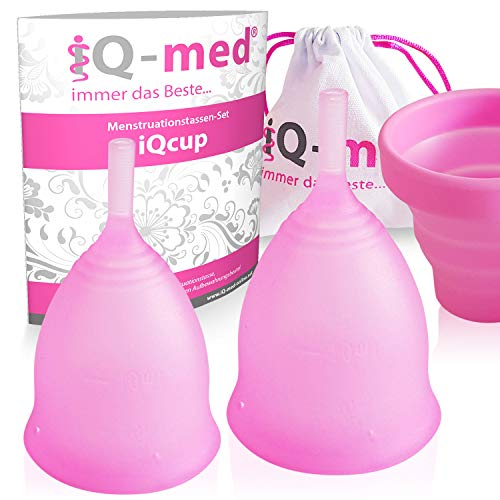 iQ-med Menstruationstasse | iQcup | Set mit Sterilisationsbecher | Ökologisch (rosa, S+L)