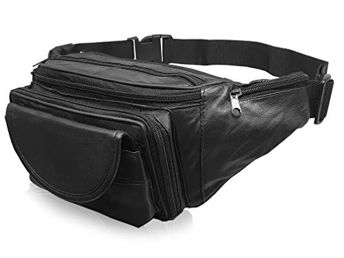 Cuero Auténtico Riñonera Extra Muy Grande 129.5cm Cintura Multi 7 Bolsillo riñonera Trabajos Pesados RL287