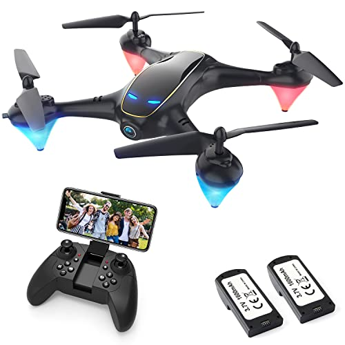 DOMIBOT Drones con Cámara para Adultos LED Tiempo de Vuelo Largo WiFi FPV 720P 120° HD Video Drone para Principiantes Drone para Interiores Exteriores 833(2 Baterías)