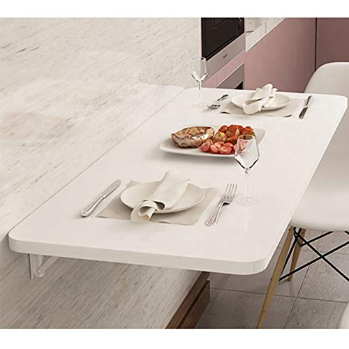 VOCD Folding Wall-mounted Drop-leaf Table, Workbench, Folding Wooden Drop-Leaf Desk Simple Floating Folding Laptop Desk,white