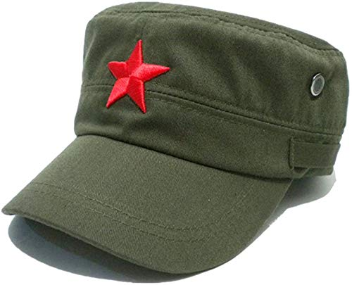 COOLSOME Vintage Fatigue Red Star Mao Army Military Hat (Military Green)