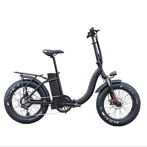 HWOEK Città Bicicletta Elettrica Pieghevole, Pneumatici per Tutti i Terreni 20' Adulto Bici Elettrica da Neve 6 velocità Freni a Doppio Disco 48V 500W Motore