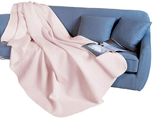 Tolle Wohndecke mit Baumwolle, Waffel-Plaid, Waffelpique, 150x200 cm, Rose