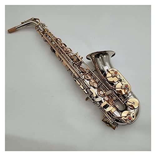 Saxofón Saxo Tenor Saxofón Alto Niquelado Llaves Doradas Instrumento De Viento De Madera con Estuche Boquilla Instrumento Viento (Color : Alto Sax Case Brown PU)