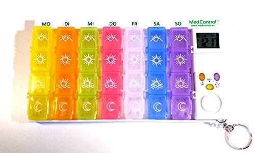 DEUTSCHSPRACHIGE Wöchentliche elektronische Tablettenbox MIT STÄRKEREM ALARM und farbigen Tablettenbehältern MedControl - Modell 2020 Deutsch