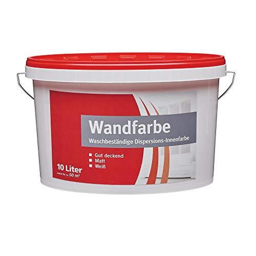 BODENMEISTER 1035 Wandfarbe Innenfarbe Dispersionsfarbe, weiß matt, 10 Liter
