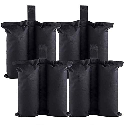 4 Stück Pavillon-Gewichte, Sandgewichte, genähte Sand-Gewichtssäcke, Sandsäcke für Gewichte, Beingewichte für Pop-Up-Vordach, Zelt, Sonnenschutz, Gartenpavillon, Trampoline, beschwerte Füße (schwarz).