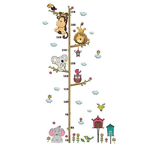 medidor niños pared,Pegatinas de altura de mono elefante león para niños, pegatinas de pared para decoración de habitación infantil