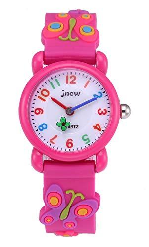 Happy Cherry Reloj Niña con Reloj Analógico Niños Reloj Educativo Niñas Reloj Cronógrafo Conveniente Niños Reloj de Cuarzo de Dibujos Animados en 3D Rosa Rojo
