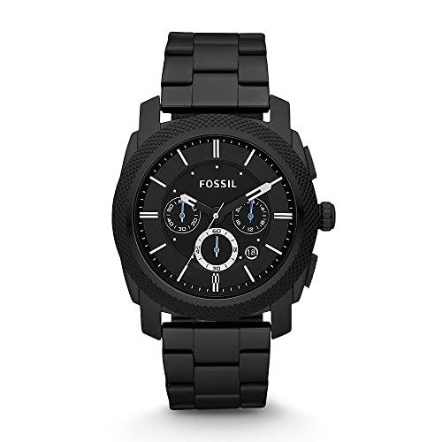 Fossil Men's Machine Quartz Stainless Steel Chronograph Watch, Color: Black (Model: FS4552IE)