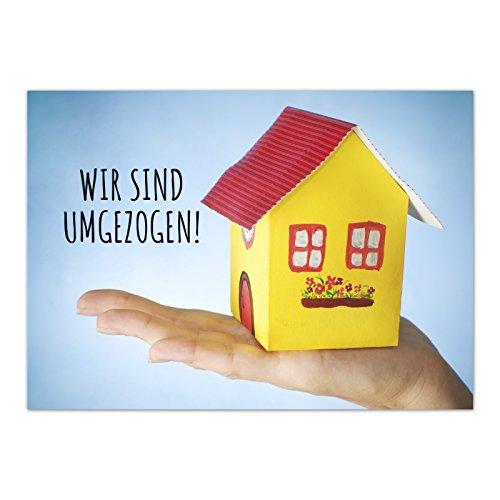 16 x Postkarten für Umzug - Motiv Haus aus Pappe - Wohnungswechsel, Einzug, Auszug, neue Adresse, Karte