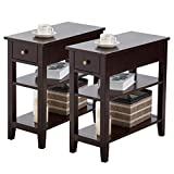 Giantex 3-Tier End Table with Drawer and Double Shelves Narrow Tiered Side Table for Bedroom, Living Room Home & Office Telephone Table Nightstand (2, Dark Brown)