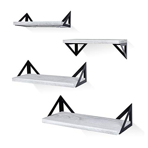 Klvied Floating Shelves Wall Mounted Set of 4, Rustic Wood Wall Shelves, Storage Shelves for Bedroom, Living Room, Bathroom, Kitchen, Office and More, Gray