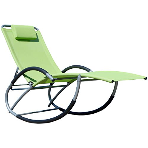 ASS Liegestuhl Schwingstuhl Schaukelstuhl Schaukelliegestuhl mit atmungsaktiven Kunststoffgewebe Rückenlehne verstellbar + Kopfpolster Kreta, Farbe:Grün