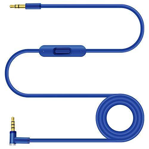 ALDOKE Cable de estudio, cable de repuesto compatible con auriculares Beats de Dr. Dre Studio/Solo/Pro/Detox/Wireless/Mixr/Executive/Pille, cable de audio en línea micrófono y control de 1,4 m (azul)