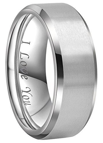 Crownal 4mm 6mm 8mm Titanium Wedding Couple Bands Rings Men Women Matte Brush Center Beveled Edges Engraved\'I Love You\' Comfort Fit Size 4 To 16 (8mm,12)