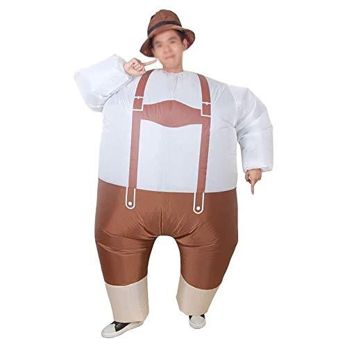 ZHANGXJ Cosplay Gentleman Disfraces Pantalones con Peto Inflable Adulto Fiesta Temática Traje Inflatable Despedida de Soltero Carnival Cosplay Fancy Dress Costume,Marrón Víspera de Todos los Santos