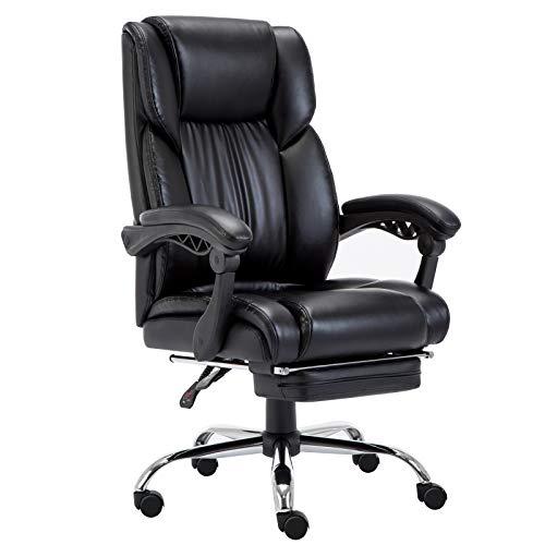 Amoiu Bürostuhl, Schreibtischstuhl aus Kusntleder, Verstellbarer Chefsessel mit Fußteil (Schwarz)