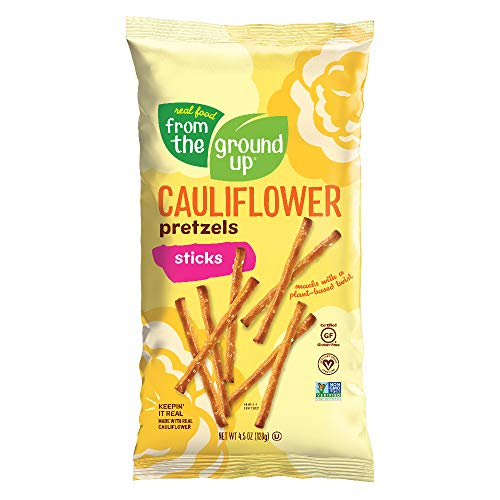Real Food From The Ground Up Vegan Cauliflower Pretzels, Gluten Free, Non-GMO, 6 Pack (Sticks)