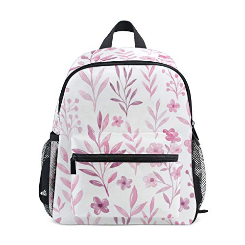 Monochrome Flower Pink Watermelon School Backpack Canvas Rucksack Large Capacity Satchel Casual Travel Daypack for Kids Girls Boys Preschool Children Students, 3-8 Years Old