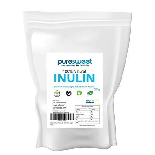 Puresweet High Grade Inulin Prebiotic Fibre Powder 500g - Non GMO, Premium Quality, Highly Soluble, Made in The EU, Fructo Oligosaccharide (FOS), Gluten Free, Vegan.