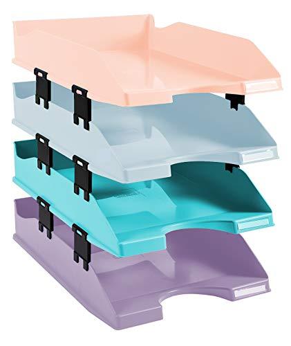 Exacompta - Réf. 113296SETD - Set de 4 corbeilles à courrier COMBO MIDI - dimensions 34,6x25,4x24,3 cm - pour documents au format A4+ - couleur pastel glossy - Aquarel
