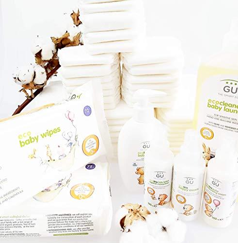 Canastilla Bebé Ecológica COMPLETA- Regalo bebé - Regalo recién nacido- Con 50 pañales- Pieles sensibles - ¡Sin tóxicos!