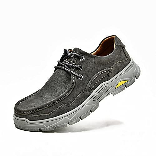 Fnho Casual Senderismo Calzado,Calzado de Running para Hombre,Zapatos Deportivos para Caminar al Aire Libre, Zapatos Casuales Antideslizantes Transpirables-Gray_38