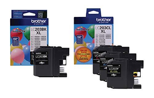 Brother LC203 Ink Cartridge (Black, Cyan, Magenta, Yellow, 4-Pack)...
