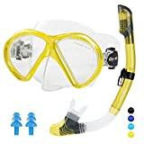 Glymnis Dry Snorkel Set Anti-Fog Diving Mask Anti-Leak Wide View Diving Goggle Easy Breathing Snorkelling Set for Adults Youths and Kids (Yellow)
