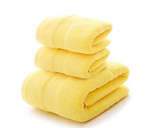 HongLanAo Algodón Toallas Set 3 Piezas Suave y Grueso Altamente Absorbente Toalla de Baño 1 * 650g / 30 * 57 Pulgadas, Toalla 2 * 170g / 14 * 30 Pulgadas (Amarillo-Bolsa de Regalo) 🔥