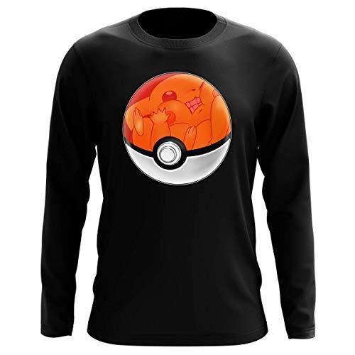 Okiwoki T-Shirt Manches Longues Noir Parodie Pokémon - La Poké Ball de Pikachu - Pika Pas Cool ! (T-Shirt de qualité Premium de Taille L - imprimé en France)