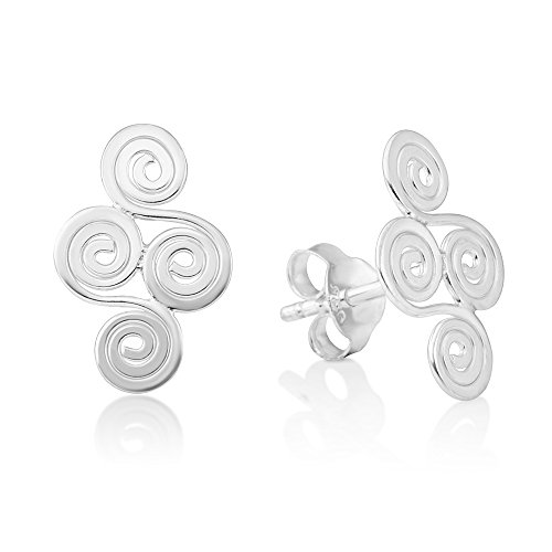 925 Sterling Silver Tribal Celtic Knots Double Spirals Ancient Symbol Tiny Post Stud Earring 14 mm