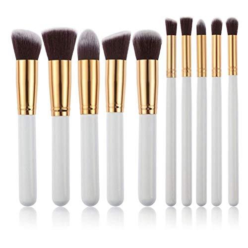 QWK Maquillage Pinceau Set Fard À Paupières Fondation Liquide Eyeliner Cils Lèvres Maquillage Brosse Outil Cosmétique, 10 PCS-Blanc-Doré
