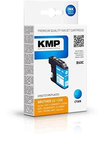 KMP Druckerpatrone für LC123C Cyan - Kompatibel - Tintenpatrone für Brother DCP-J132W/DCP-J4110DW - Office Druckerzubehör